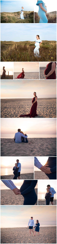 Fotoselectie voor blog van de Zwangerschapsfotoshoot in Egmond aan Zee tijdens zonsondergang